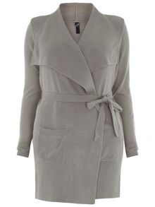 Neutral Belt Drape Cardigan