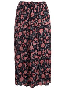 Plus Size Floral Crinkle Maxi Skirt