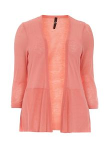 Plus Size Orange Peplum Cardigan
