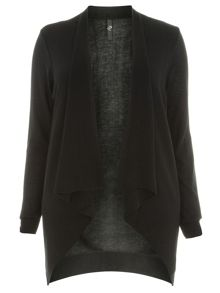 Plus Size Black Asymmetric Cardigan