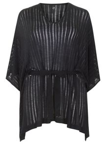 Plus Size Black Ladder Stitch Cover Up