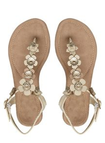 Extra Wide Fit Tan Flower Trim Sandals