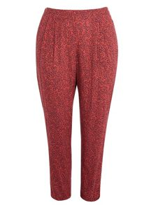 Plus size printed tapered trousers
