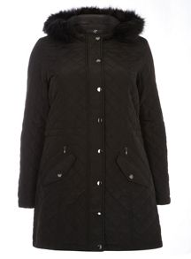 Black Faux Fur Quilted Parka Coat