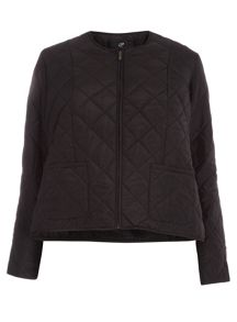 Plus Size Black Quilted Liner Jacket
