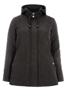Plus Size Black Quilted Hooded Coat
