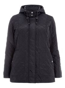 Plus Size Navy Quilted Hooded Coat