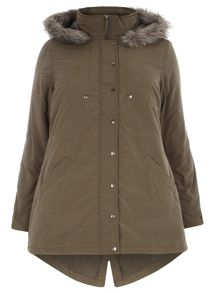 Plus Size Khaki Cotton Fur Hood Parka