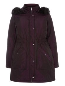 Plum Fur Trim Parka Coat