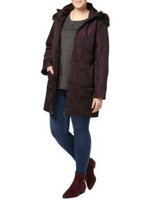 Evans Plum Fur Trim Parka Coat