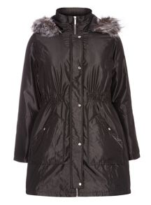 Grey Charcoal Faux Fur Trim Parka Coat