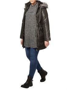 Evans Grey Charcoal Faux Fur Trim Parka Coat