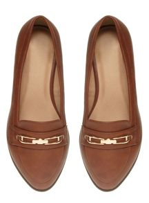 Extra Wide Fit Tan Metal Trim Loafer