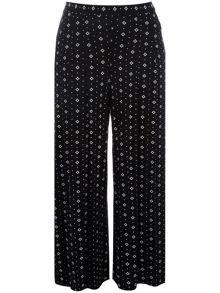 Plus Size Printed Jersey Wide Leg Trousers