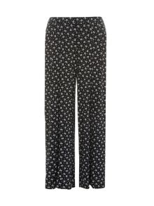 Plus Size Clover Print Wide Leg Trousers