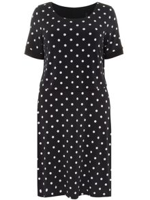Plus Size Spot Print Overlay Dress