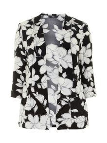 Plus Size Floral Crepe Jacket