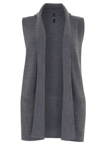 Grey Sleeveless Hooded Cardigan