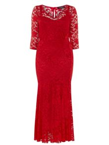 Plus Size Red Lace Fishtail Maxi Dress