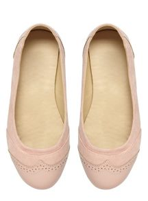 Extra Wide Fit Pink Brogue Detail Pump