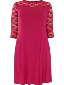 Plus Size Sweetheart Lace Yoke Dress