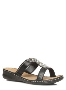 Extra Wide Black Leather Beaded Sandals