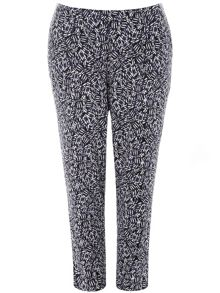Plus Size Blue Printed Tapered Trouser