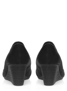 Evans Extra Wide Fit Black Contrast Stitch Wedge
