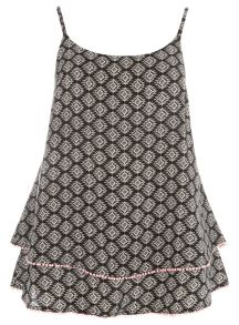 Plus Size Printed Cami With Trim Detail