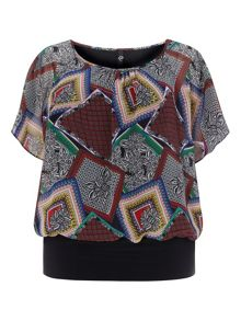 Plus Size Tile Print Band Hem Top