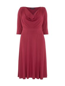 Plus Size Red Cowl Neck Midi Dress