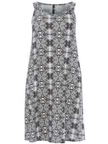 Plus Size Mono Aztec Swing Dress