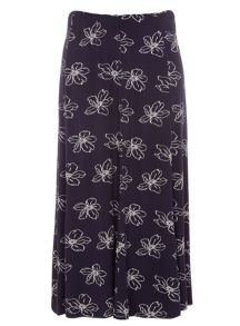 Plus Size Navy Floral Printed Skirt