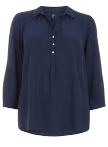 Plus Size Navy Workwear Shirt