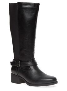 Extra Wide Fit Black Square Toe Riding Boot
