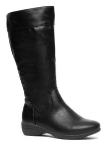 Evans Extra Wide Fit Black Casual Comfort Long Boot