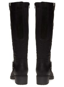 Extra Wide Fit Black Zip Long Boot