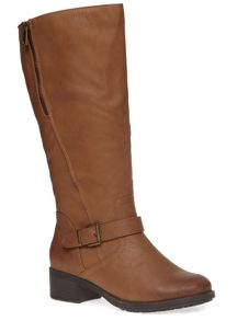 Evans Extra Wide Fit Tan Zip Long Boot