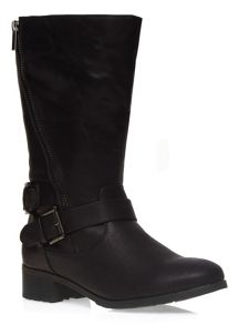 Evans Extra Wide Fit Black Diagonal Zip Biker Boot