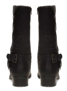 Extra Wide Fit Black Diagonal Zip Biker Boot