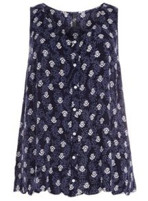 Plus Size Navy Woodblock Sleveless Top