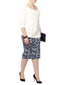 Plus Size Floral Pencil Skirt