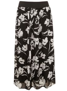 Plus Size Black and White Print Skirt