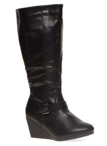 Extra Wide Fit Buckle Wedge Long Boot
