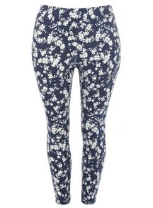 Plus Size Floral Stretch Trousers