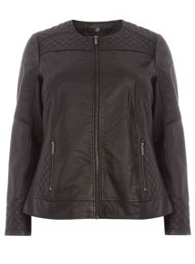 Plus Size Black Quilted PU Jacket