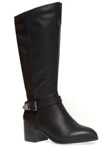Extra Wide Fit Black Block Heel Long Boot
