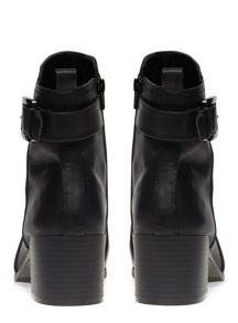 Extra Wide Fit Black Buckle Point Ankle Boot