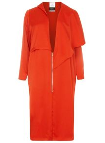 Evans Plus Size Lulu Lui Red Zip Coat