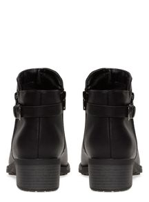 Evans Extra Wide Fit Black Side Zip Ankle Boot